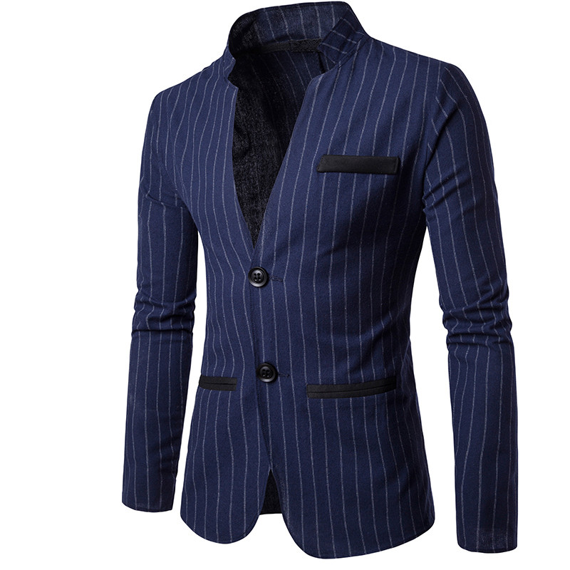 YFFUSHI 2018 New Arrival Men Suit Jacket Fashion Striped Navy Blazer Two Buttons Masculino Casual Style Slim Fit