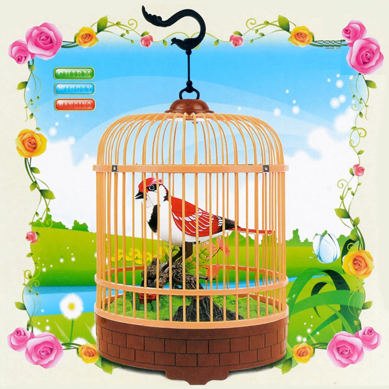 Electric Voice Control Bird Simulation Bird Cage Toy Cute Birdcall Toy Electronic Pets Bird Novelty Toy Gifts Office Decoration
