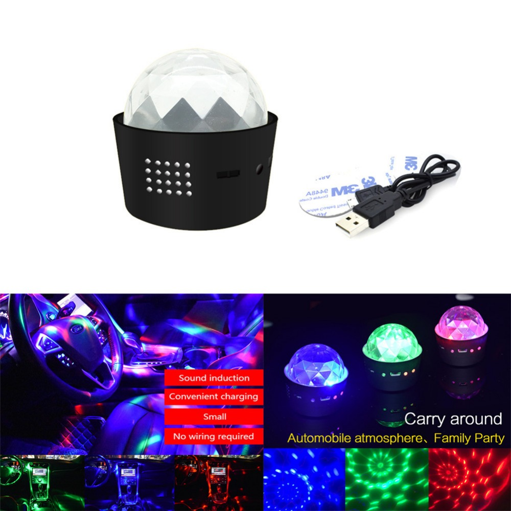 RGB LED Car Atmosphere Lights Music Rhythm Activated Auto Decoration Lamps Bulbs Car Interior Styling DJ Disco Stage Effects