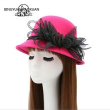 BINGYUANHAOXUAN Autumn and winter England retro jazz hat sunscreen large woolen women Simple casual fedora
