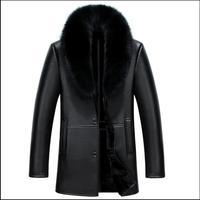 S-4XL Herren Neue Winter Faux Fur Jacken Lange Leder Mäntel Luxus Großen Pelzkragen Schafe Haut Leder Jacken Verdicken Kleidung