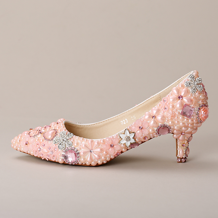 ФОТО Elegant pink flowers diamond bridal shoes In shallow mouth with wedding shoes Dress toast wedding shoes Women's shoes