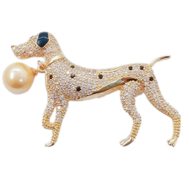 Gold Color Large Dog Animal Pins and Brooches for Women Men Cystal CZ Zircon Suits Collar Lapel Pin Broches Fashion Jewelry X329