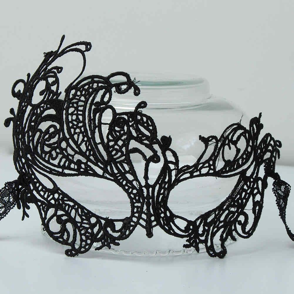 Máscaras de encaje Floral para mujer Sexy para mujer máscara de ojo de media cara para fiesta de graduación de Halloween