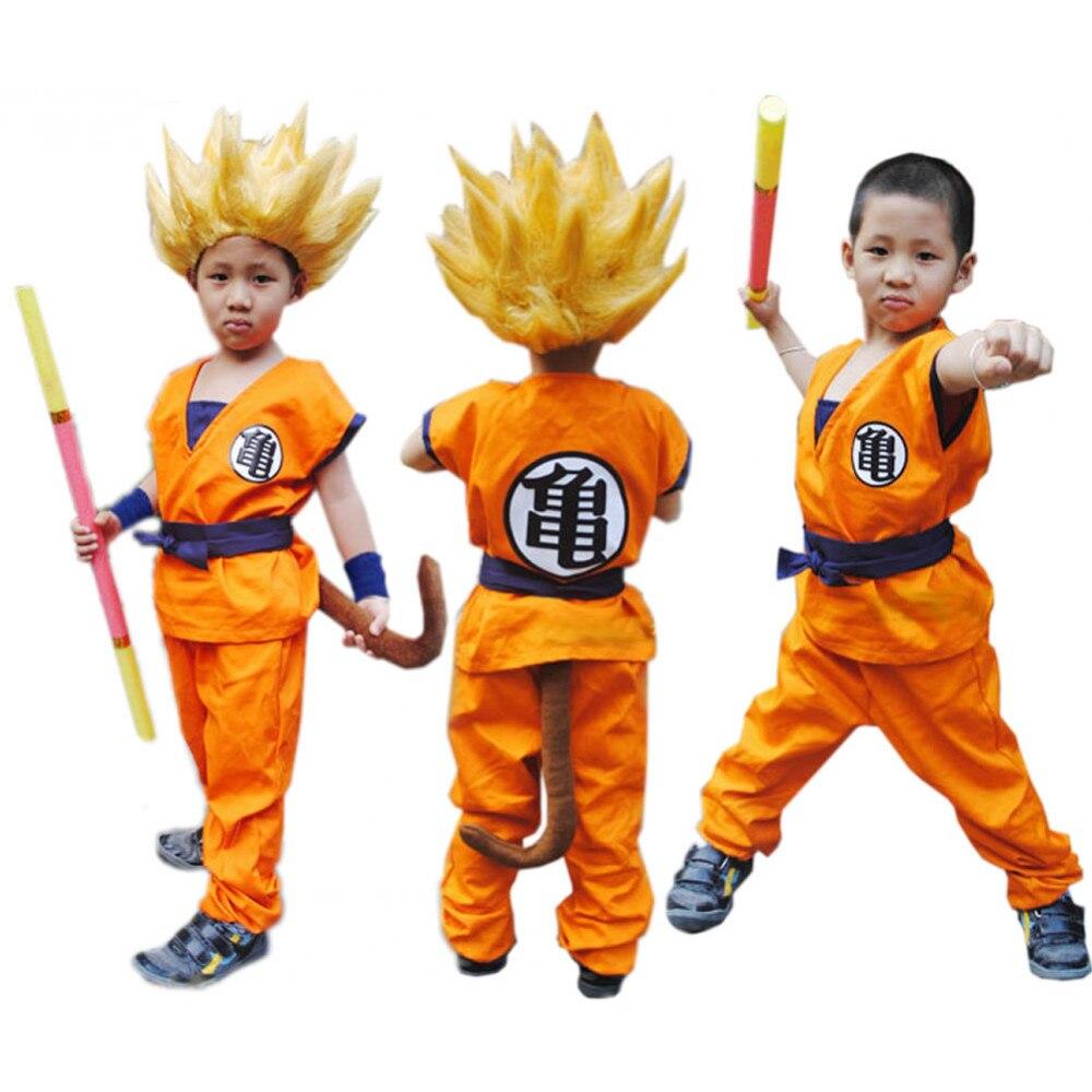 O Envio gratuito de qualidade Superior Crianças Dragon Ball Z Son Goku Cosplay Roupas Halloeen