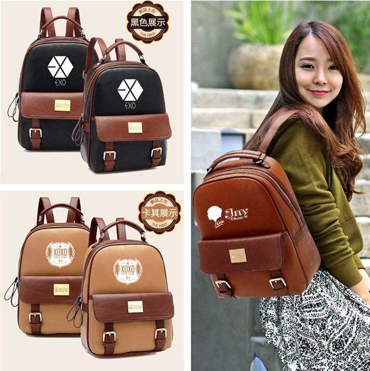 Liberal Exo Kpop 88 Wolf Xoxo Leather Shoulder Fashion K-pop Exo-m Korean Students School Colorful Mochila Schoolbag Luhan Xiumin Lay Do Terrific Value