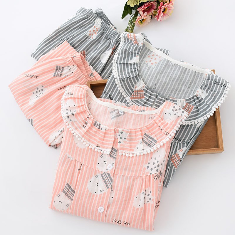 Image 4 - Female Summer Seven Sleeve Pijama Mujer Pink Pure Cotton Yarn Sleepwear Sexy Pajama Sets Women Korean Cute Sweet Thin Home Suit-in Pajama Sets from Underwear & Sleepwears