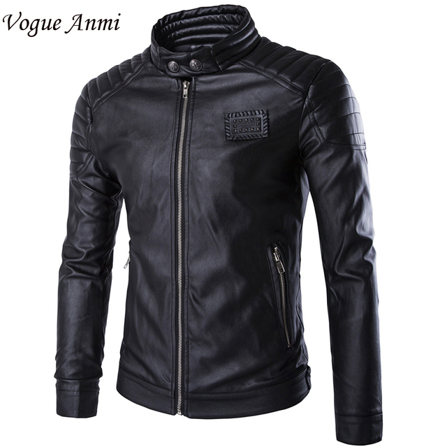 Vogue Anmi.Winter Leather Jacket Motorcycle Coat Men Outerwear Male Slim Fit Down Leather Jacket Fitness Men's Clothing Suits