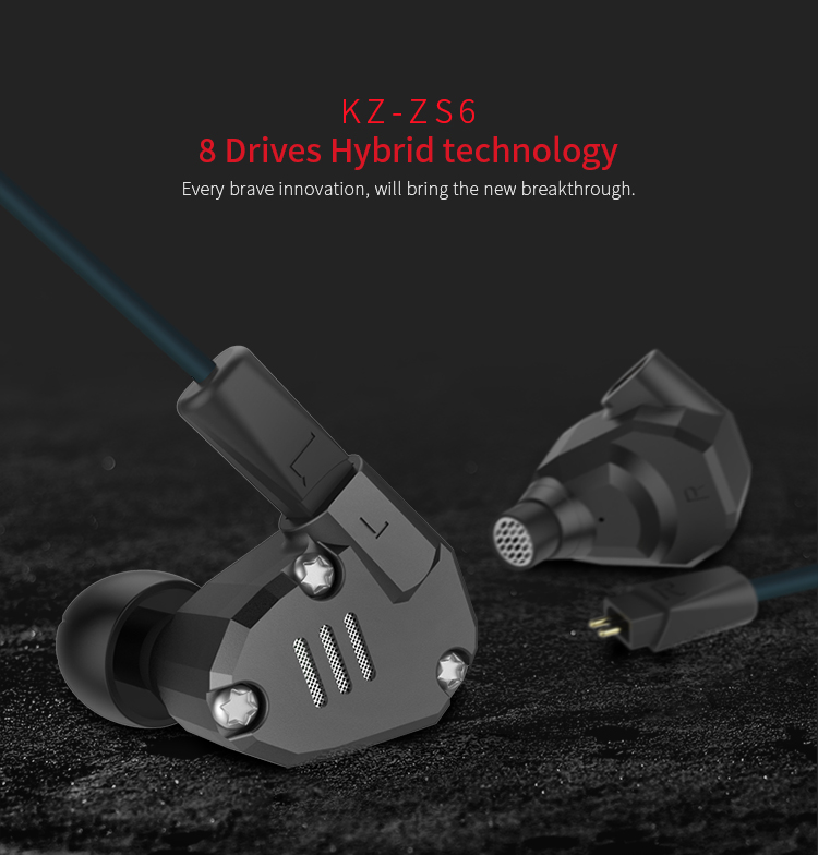 Latest Original KZ ZS6 Earbuds 2DD+2BA Hybrid Earphone HIfi In Ear Metal Headphone DJ Monitor Headset Earphones for Phone 2016 senfer 4in1 ba with dd in ear earphone mmcx headset with upgrade cable silver cable hifi earbuds