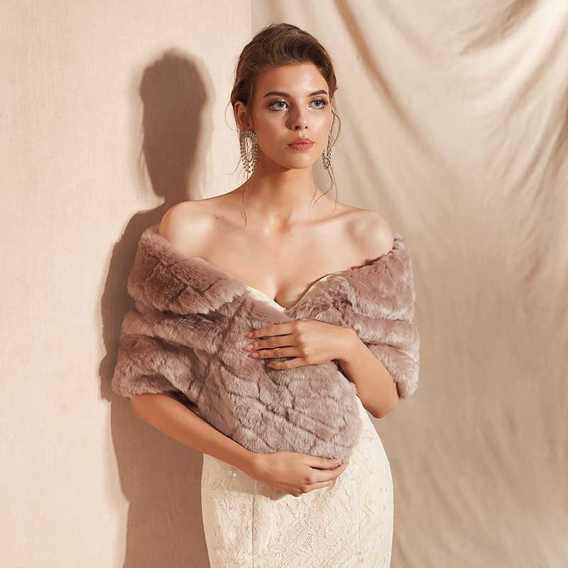 Forevergracedress 2019 Elegan Lembut Musim Gugur Musim Dingin Bulu Imitasi Pengantin Pernikahan Bungkus Bolero Jaket Bridal Mantel Selendang PJ305