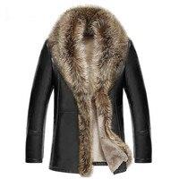 2018 зимняя новая мужская кожаная куртка из овечьей шерсти пальто из натуральной кожи с меховым воротником с животными jaqueta masculino, большие раз