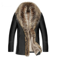 2018 winter new men lambswool leather jacket Genuine leather coats thicken fur animal collar jaqueta masculino plus size M 5XL