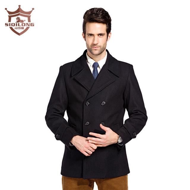 Casaco de inverno longo de lã trench coats de lã dos homens outerwear