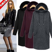 4xl plus size sweatshirts women spring autumn winter 2016 feminina long sleeve hooded thicken wool velvet fleece female A1565
