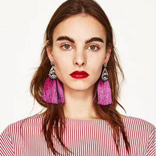 BK Fashion Women Tassel Earrings Bohemian Long Exaggerated Rose Flower Dangling Female Trendy Wedding  Jewelry