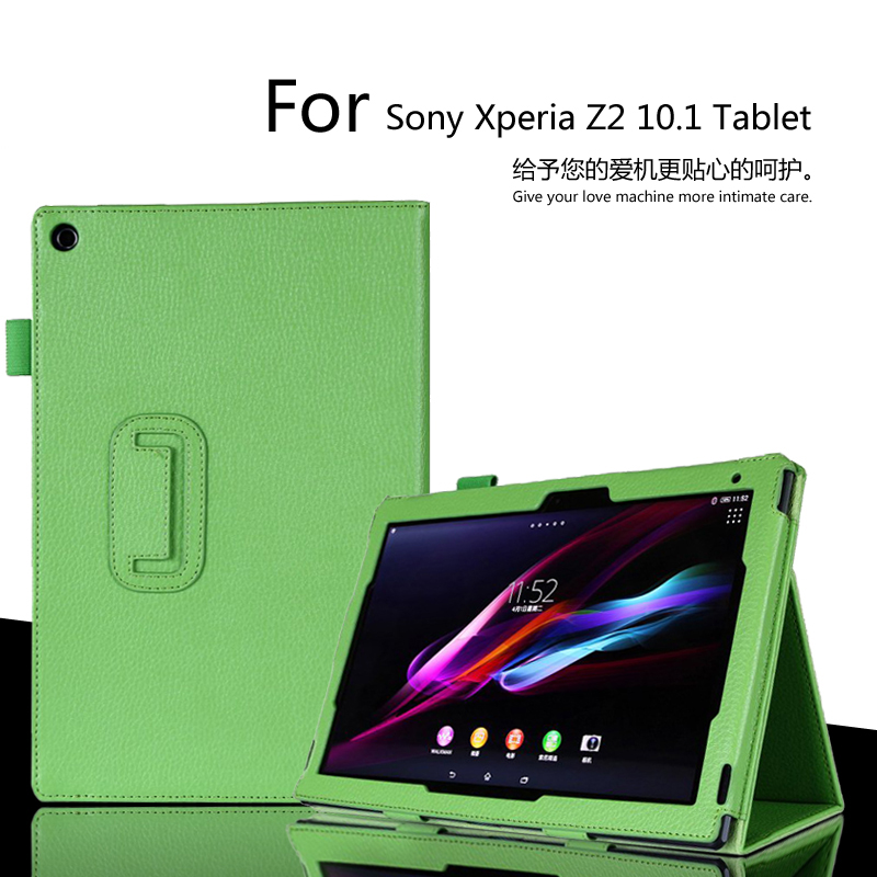 for Sony Xperia Z2 10.1 inch Tablet Case Litchi PU Leather Cover For Sony Z2 Tablet Slim Folding Cover Case Free Shipping ultra thin slim stand litchi grain pu leather skin case with keyboard station cover for lenovo ideapad miix 320 10 1 tablet pc