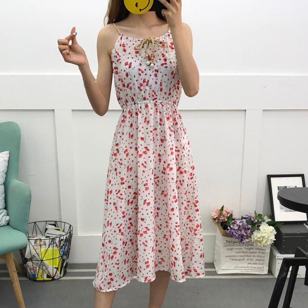Bohemian Sundresses Vintage Women's Beach Casual Sleeveless Flower Printing Dresses Knee-Length Dress Women Clothes 2020