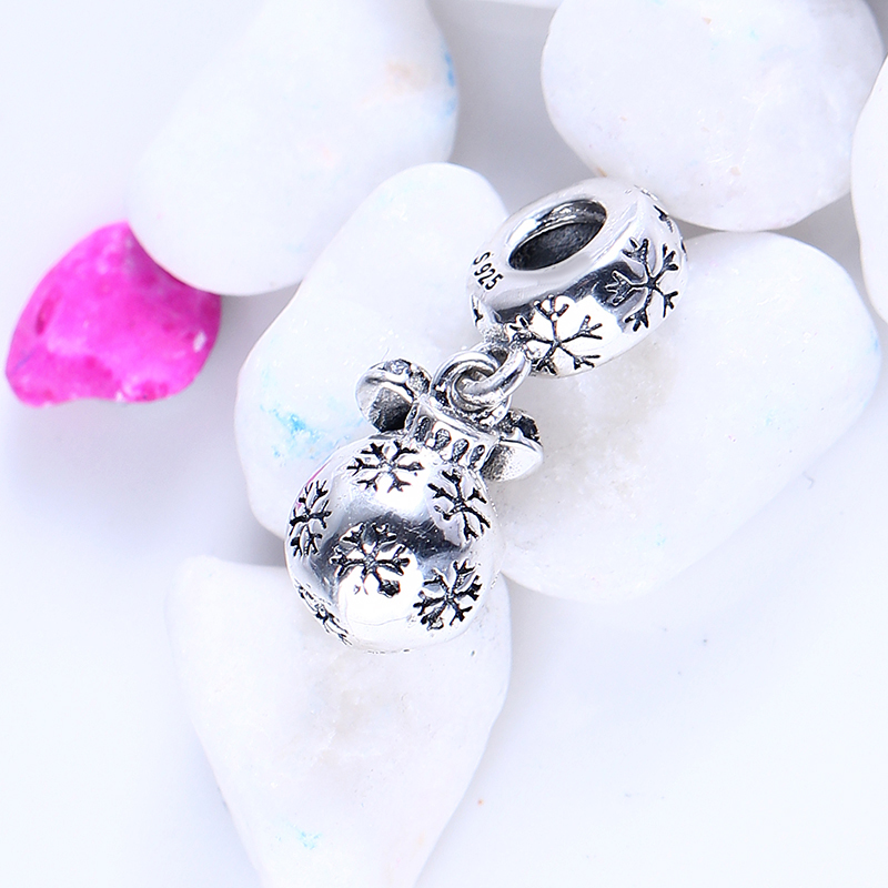 100% 925 Sterling Silver Fit Original Pandora Bracelet Christmas Bauble Pendant Charms CZ Charm Beads for Jewelry Making Gift