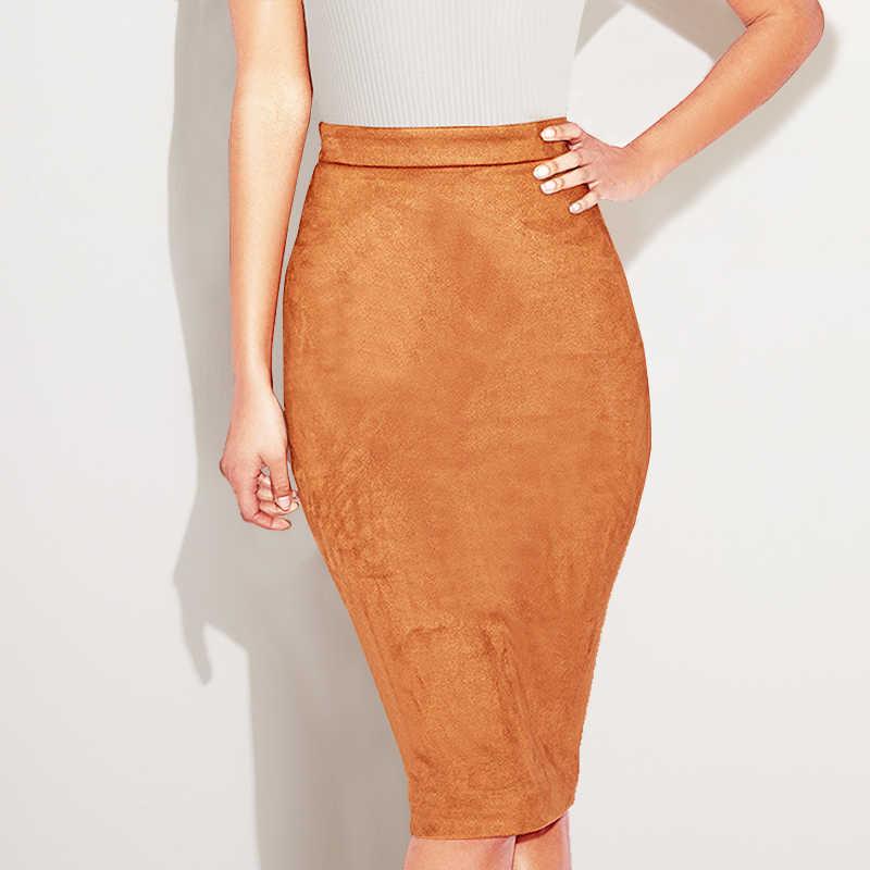 Colysmo Осенняя замшевая юбка миди с высокой талией искусственная кожа юбка зимние юбки женские двухсторонняя молния через юбка-карандаш saia Миди