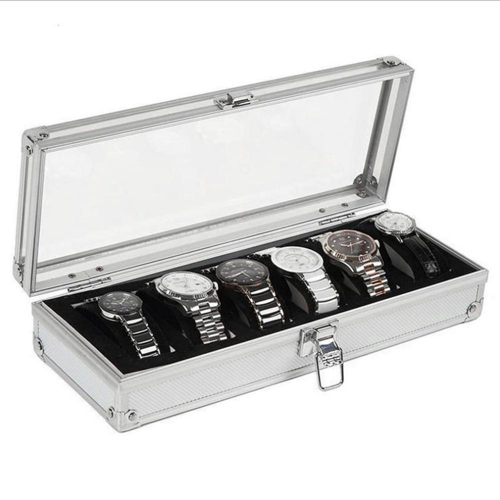 6 Grids/Slots Watch Box Storage Display Box Case Aluminium Jewelry Box Jewelry Decoration High Quality