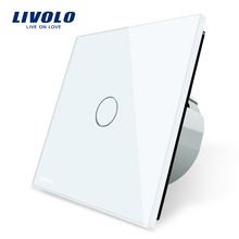 Livolo сенсорный выключатель роскошные белые стекло переключатель, нормальные 1 gang 1 позиционный переключатель, C701-11/2/3/5