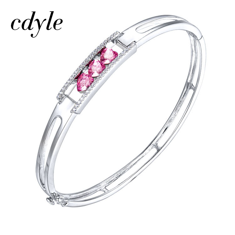 Cdyle Crystals from Swarovski Bracelets Purple Color Women Bracelet Fashion Jewelry Austrian Rhinestone Paved Elegant New elegant embossed rhinestone bracelet for women