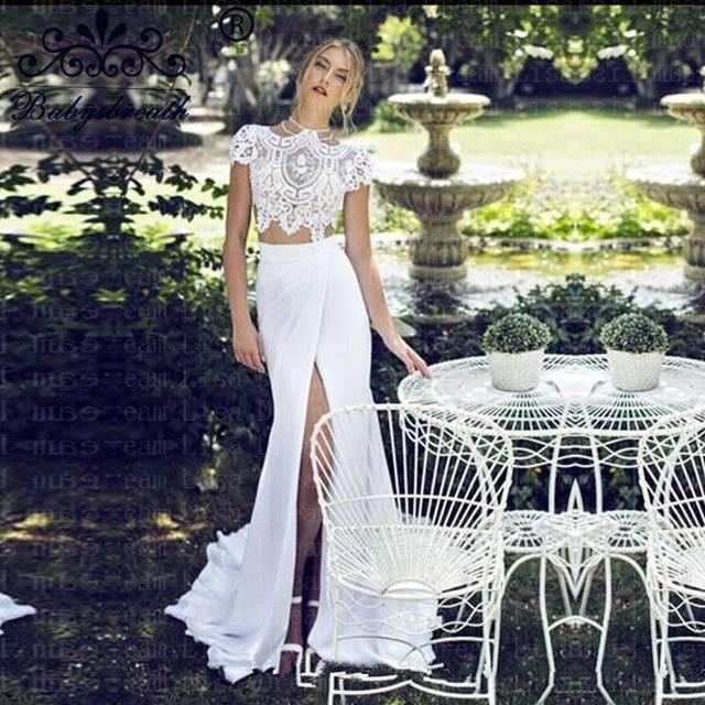 Bridal Two Piece Wedding Dress Beach Chiffon Romantic Ladies Vestidos White Wedding Dress Vestido Noiva Sereia Manga Longa