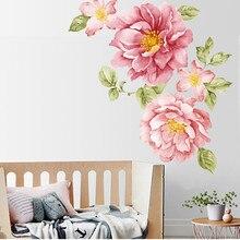 Dropshipping Peony Rose Flowers Wall Sticker Art Nursery Dec