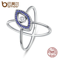 BAMOER 100 Authentic 925 Sterling Silver Blue Eyes Clear Cubic Zircon Finger Rings For Women Sterling