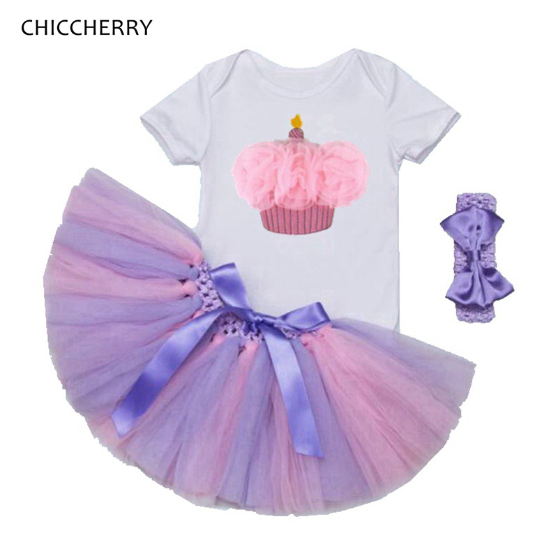 2018 Cupcake Birthday Tutu Outfits Summer Baby Girl Bodysuit + Headband + Lace Skirt Set Barboteuse Bebe Garcon Newborn Clothes