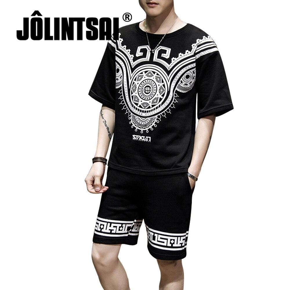 2018 Men Summer Sportswear Sets Short Sleeve T-shirts+Shorts Tracksuit New Fashion Printed Men Casual Sets moletom masculino 5XL
