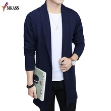 MKASS Brand 2017 Hot Sell Middle- Long Length Mens Solid Sweater Male Casual Autumn Pure Color Cardigan Sweater M-3XL