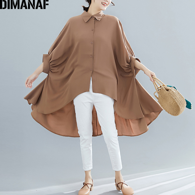 Plus Size Women Blouse Tunic Solid  color Loose Casual  3