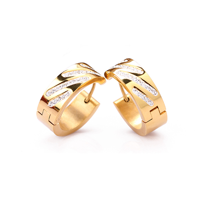 2016 classic fashion titanium jewelry gold plated women stud earrings