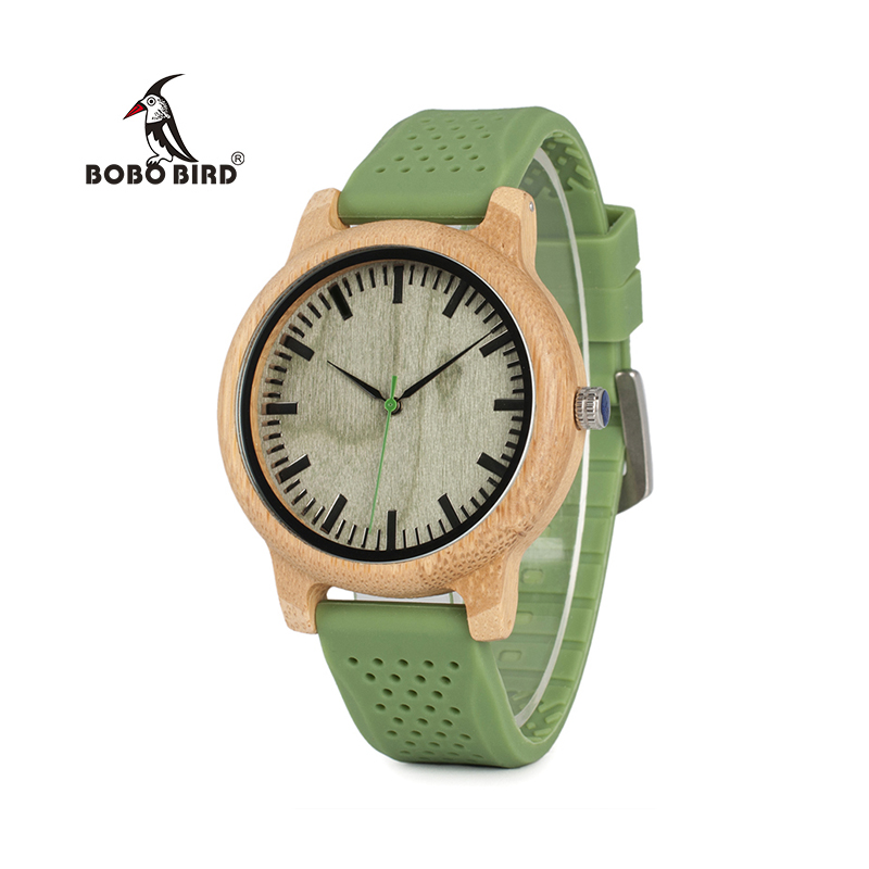 все цены на  BOBO BIRD WB06 New Fashion 2017 Bamboo Wood Watches with Soft Green Silicone Straps Japan Quartz Movement 2035 Watch in Boxes  в интернете