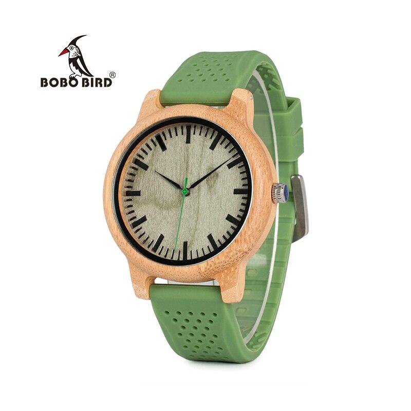 f00b1c89043 BOBO PÁSSARO Relogio masculino Relógios Das Mulheres Da Marca de Bambu Homens  Relógio Banda de Silicone de Quartzo relógios de Pulso relogio feminino  W-B06