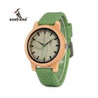BOBO VOGEL WB06 Nieuwe Mode 2017 Bamboe Hout Horloges met zachte Groene Siliconen Bandjes Japan Quartz 2035 Horloge in dozen