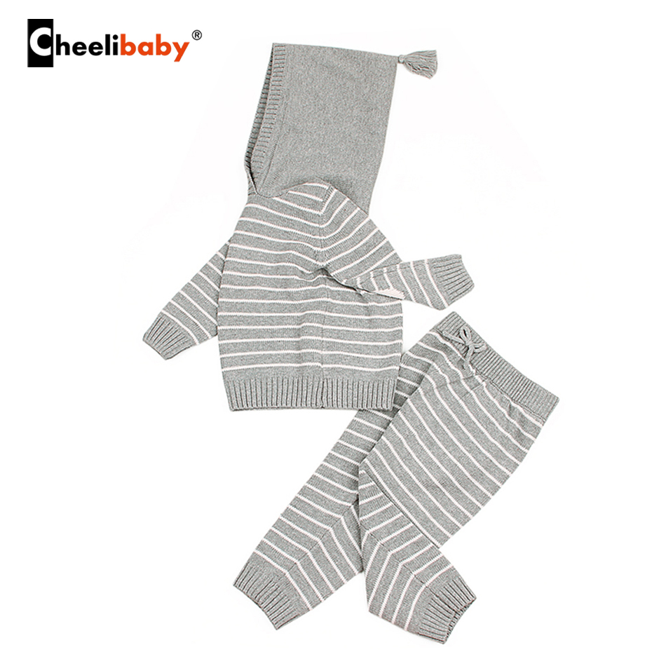 Spring Baby Set Outfits Outwear Infant Boys Knitted Tracksuits Cotton Crochet Toddler Girls Sport Suit Hooded Sweaters Kids Set