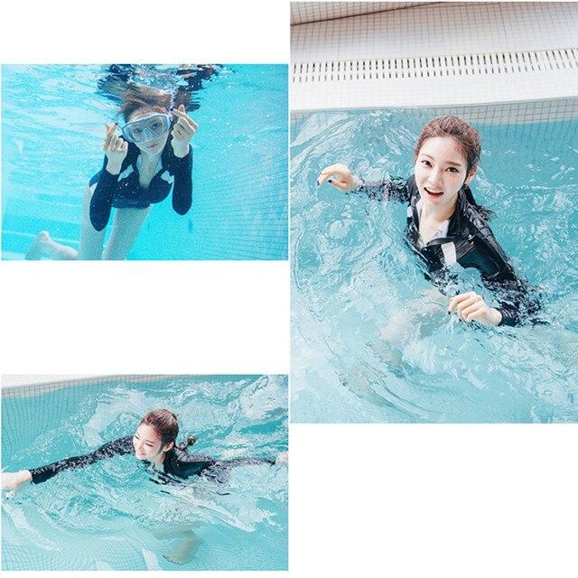 Alta qualidade das mulheres de manga longa rash guards top colheita + shorts conjunto surf maiô mergulho terno maillot de bain novo