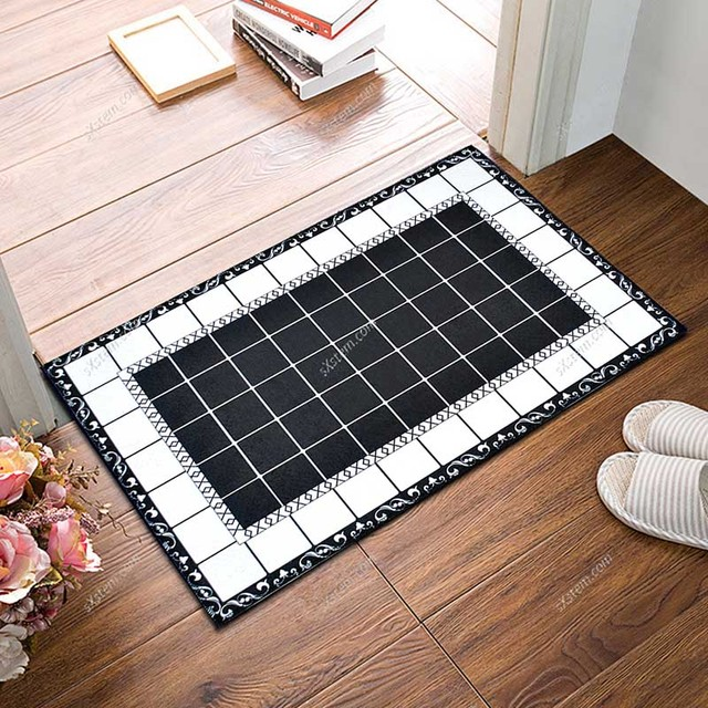 Nordic Flannel Grid Doormat Soft Plush Carpet Kitchen Floor Mat Anti Slip Entrance Rug Welcome Door