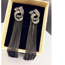 women's long earrings hanging drops tassels earring for women ethnic statement dangle earring with stone black bijouterie MB