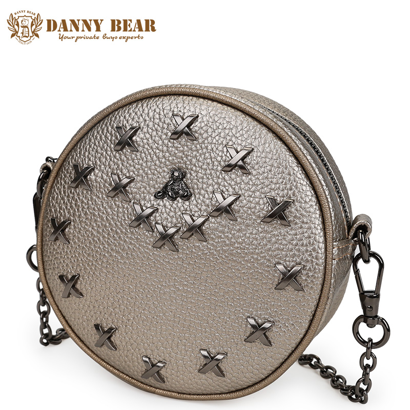 DANNY BEAR Fashion Women Leather Messenger Bags Brand Designers Round Crossbody Bag Small Female Shoulder Bags Girls Pu Bags fashion pu leather metal handle circular bag small round package shoulder bag girls crossbody tote messenger bags