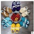 Новый резина hard sole Натуральная Кожа Детские Мокасины Мягкие Moccs узелок Детская Обувь Новорожденных firstwalker противоскользящие Младенческой обувь