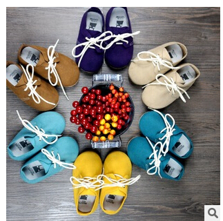 New rubber hard sole Genuine Leather Baby Moccasins Soft Moccs lace up Baby Shoes Newborn firstwalker Anti-slip Infant Shoes