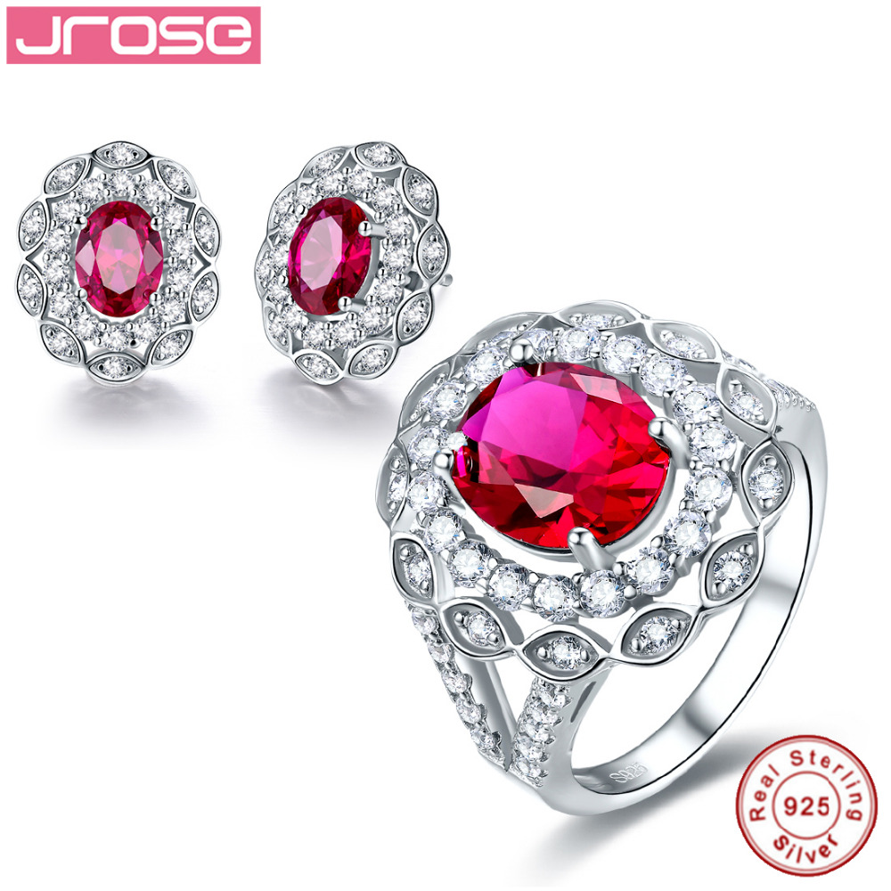 Jrose noble wedding jewelry 100% authentic 925 pure silver standard class premiere engagement ring & Earrings