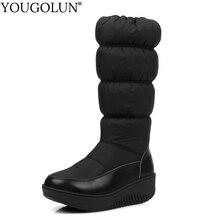 Down Mid-Calf Wdges Boots Women Warm Winter Woman Platform Shoes A308 Fashion Ladies Black Blue White Round Toe Winter Boots цены онлайн