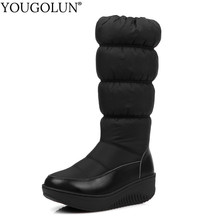 Down Mid-Calf Wdges Boots Women Warm Winter Woman Platform Shoes A308 Fashion Ladies Black Blue White Round Toe Winter Boots(China)