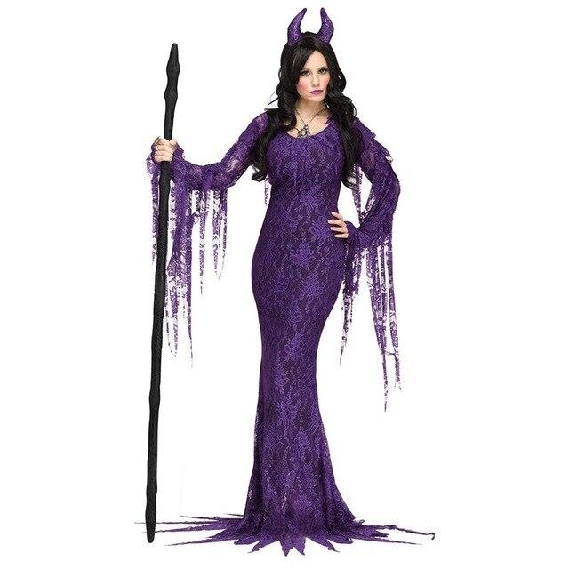 Vestiti Halloween Strega.Halloween Sexy Viola Male Strega Costume Cosplay Deluxe Fairytale Demone Manica Lunga Vestito Diavolo Operato Del Fase