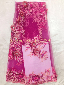 6 colors option! beautiful 3d JRB-71602 Nigerian Lace Fabric in pink color  with beads For Wedding dress