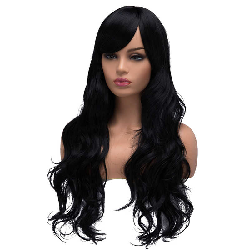 BESTUNG Long Curly Wavy Wigs with bangs for Women Ladies Synthetic Full Hair Natural Black  Wig with Side Bangs for Daily Wear